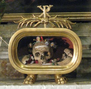 St. Valentine's skull in its reliquary on display in Rome.